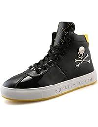 YAN Calzado de Hombre Zapatos de Microfibra Alto y Top Zapatos Casuales con Cordones Zapatos de Calavera Botas Casuales Zapatos para…