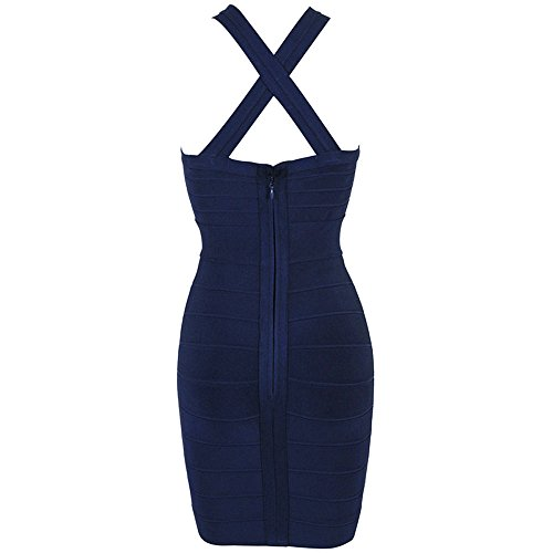 HLBandage Women's Sexy Keyhole Criss Cross Mini Bandage Dress Bleu