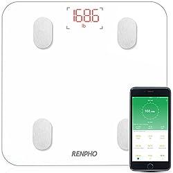 RENPHO Körperfettwaage, Bluetooth Personenwaage mit APP, Smart digitale Waage für Körperfett, BMI, Gewicht, Muskelmasse, Wasser, Protein, Skelettmuskel, Knochengewicht, BMR, usw.