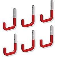 Garagenhaken Wandhaken mit Gummierung rot Geräte-Halter Allzweckhaken aus Stahl   150 x 210 mm   Stahl verzinkt   6 Stück - Haken zum Schrauben