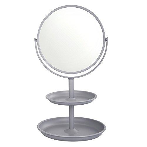 Harima Doppelseitiger Kosmetikspiegel mit 2-Tier-Lagerregal| 1X und 3x Vergrößerung | Grau Tisch...