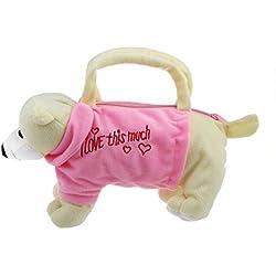 SODIAL(R) Linda forma de oso de peluche bolsa bolso monedero para ninos - color de rosa y Beige