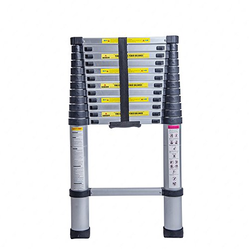Superworth Teleskopleiter aus Aluminium, 3,2m/3,8m/5m, ausziehbare Leiter für zu Hause, Büro, Innenbereiche, Außenbereiche, 150kg Belastbarkeit, silber