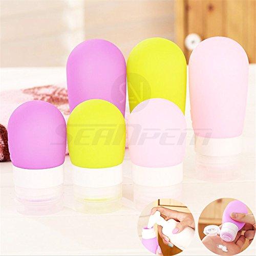 Silikon Reise Flaschen Set–BPA-frei Flexibler & nachfüllbar Container 6Set Organisatoren für Shampoo, Lotion, Toilettenartikel, Klimaanlage–zugelassen für Handgepäck–inpay