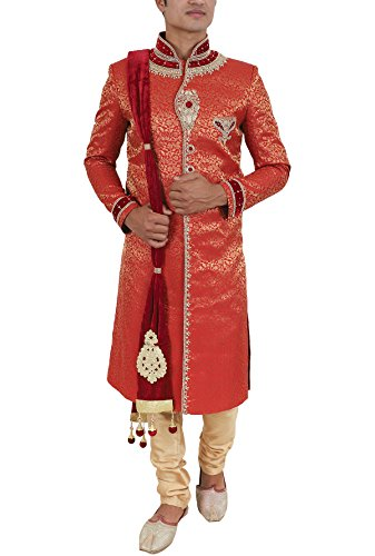 La Rainbow Mens Embroidered Wedding Banarasi Jacquard Sherwani (Red)
