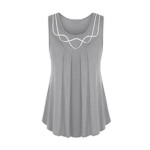 OSYARD Damen Ärmelloses O-Neck Pure Farbe Plus Size Weste Bluse Top Tunika Shirt(EU 44/XL, Grau)