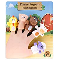 aeioubaby.com Finger Puppets for children and babies | 5 Farm Animals | BPA-free PVC Puppets | Bath Toys | Hand Puppets | Stories