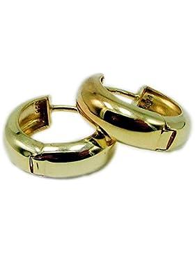 ASS 333 Gold Damen Ohrringe Klappcreolen Klapp Creolen 15 mm, hochglanzpoliert