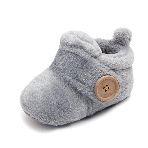 TININNA hiver chaud enfant infantile fond souple Anti-dérapante Patins de enfant chaussures en coton bottes Toddler Prewalkers 13cm for 9 to 12 months baby gris