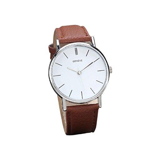 Amlaiworld orologio da polso per uomo, retro fascia del design analogico di cuoio in lega da polso al quarzo (marrone)