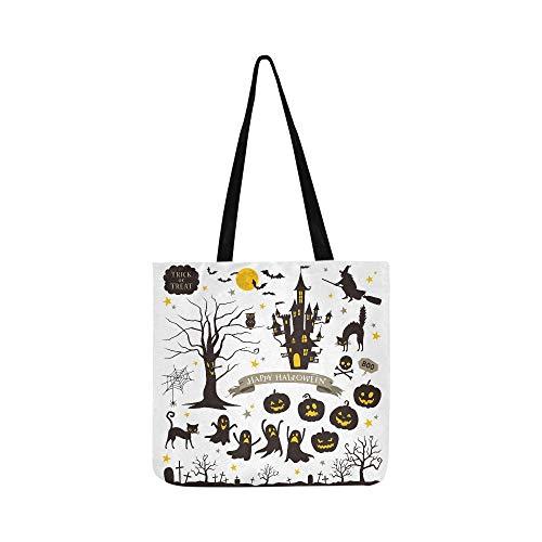 Halloween Icons Canvas Tote Handtasche Schultertasche Crossbody Taschen Geldbörsen für Männer und Frauen ()