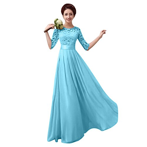 Damen Frauen Brautjungfernkleid Lang Abendkleider mit Spitze Halbe Ärmel Brautkleid Partykleider Cocktailkleid Lang Empire Rock aus Chiffon Blau XXL (Brautjungfer Kleid Strapless)