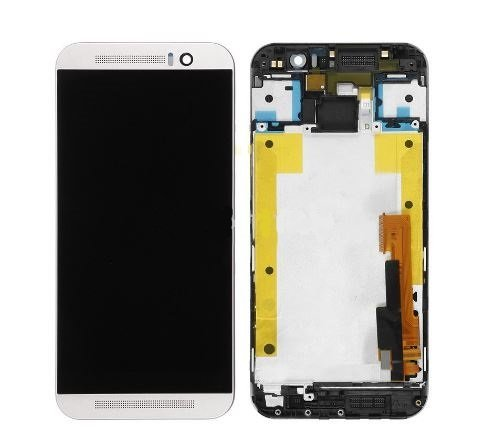 HTC One M9 Ersatz Display für kompatibles LCD Touchscreen Digitizer Bildschirm Scheibe Glas Rahmen Frame Silber + Werkzeug (Htc Digitizer Ersatz Bildschirm)