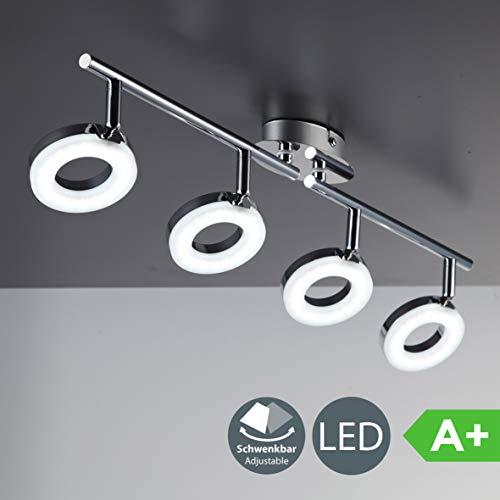 LED Deckenleuchte I dreh- & schwenkbar I Chrom I 4 x 4,5W 450LM LED Platine I IP20 I warmweiß 3000K I Deckenlampe -