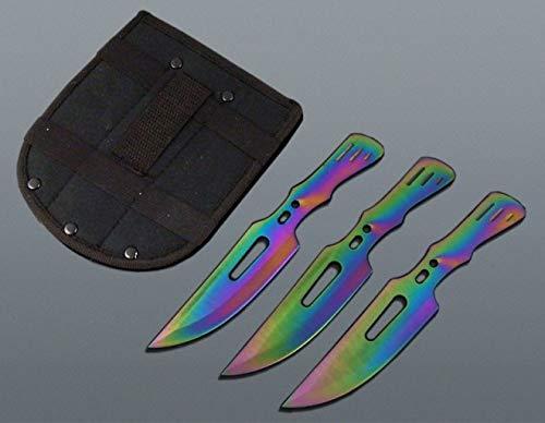 KOSxBO® 3 teiliges Set Flipflop Rainbow Trainingsmesser Wurfmesser Set - Wurfdolch 19 cm - Freizeit - Outdoor - Prepper - Survival - Messer - inklusive 1 Etui - Hunter Knife - Throwing Knives -
