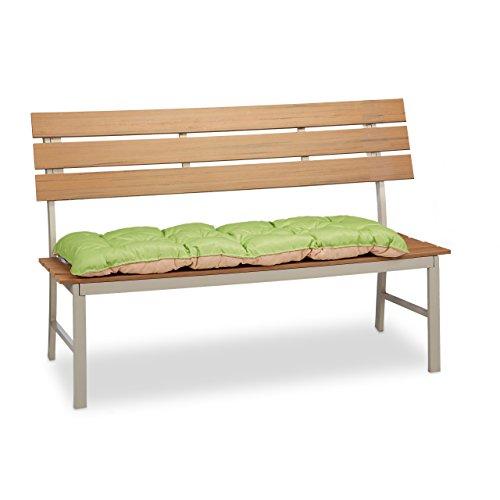 Relaxdays Bankauflage Garten, Bankpolster Zweisitzer, Bank Sitzauflage zum Binden, faltbar, HBT: 8x118x52cm, grün/beige