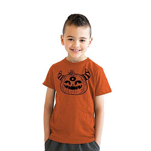 Crazy Dog Tshirts - Youth Monster Pumpkin Tshirt Funny Halloween Trick Or Treat Tee for Kids (Orange) - M - Jungen - M (Candy Treats Halloween Apples)