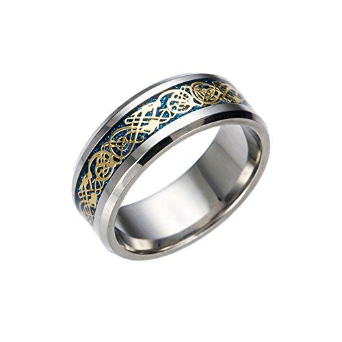 Herren Edelstahl Ringe Bule Unten Dragon Bands für Männer Jungen Mädchen Hochzeit (Infinity-hochzeit-band-für Männer)