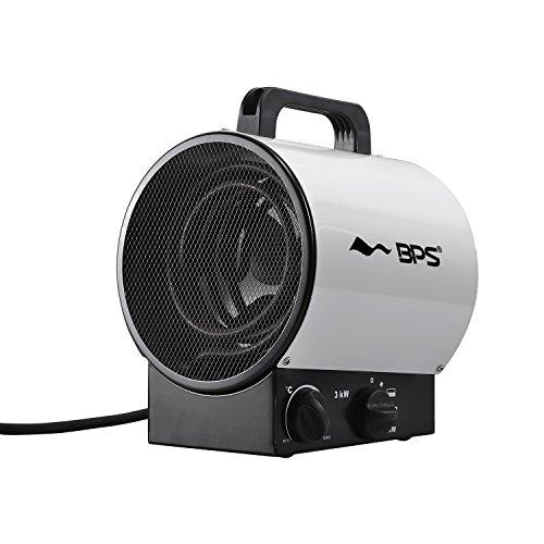 BPS Heizlüfter Elektroheizgebläse Heißluftgenerator Industrial Fan Heater (max. 3 kW, stufenloses Thermostat, Standgerät, Tragegriff ) Weiß