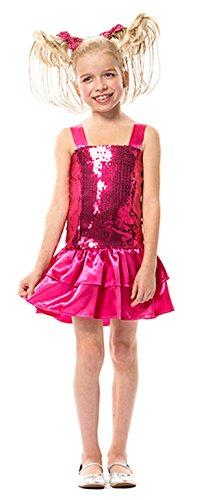 Karneval-Klamotten Charleston Kostüm Mädchen Pailletten-Kleid rosa Popstar Mädchen-Kostüm Größe 128