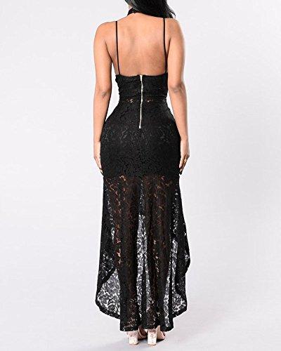 Femme Impression La robe de soirée maxi ourlet irrégulier Sling Robes De Bal Noir