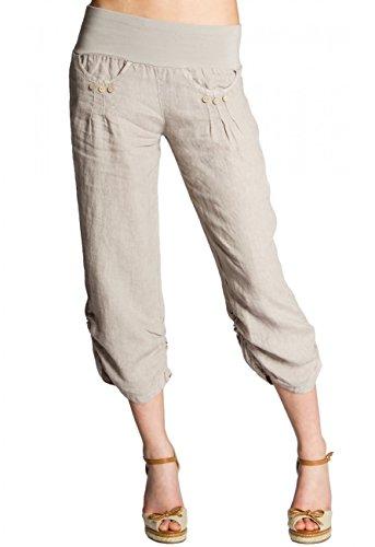 CASPAR KHS017 Damen 3/4 Leinen Hose, Farbe:beige;Größe:36 S UK8 US6