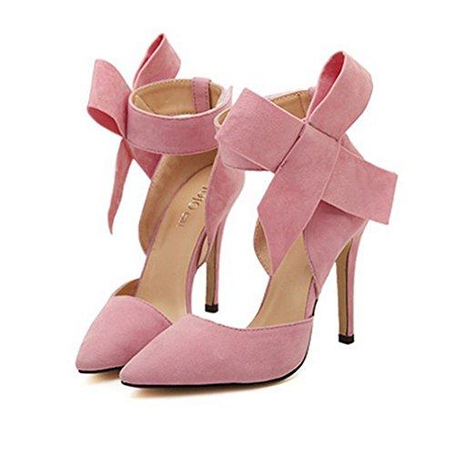 Xianshu Mujer Pajarita Bombas de Tacón Alto Vestido de Fiesta Zapatos de Corte(Pink-40)