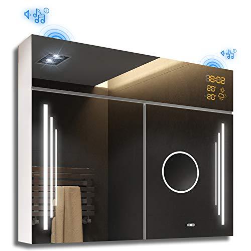 Artforma Moderne Design 2 türig Spiegelschrank mit Beleuchtung | 66 x 72 cm | Badezimmerspiegelschrank | Badezimmerspiegel