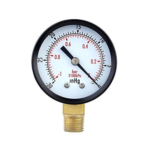 TOOGOO(R) 0 ~ -30inHg 0 ~ -1bar Mini Dial Luftdruckpruefer Barometer Meter Vacuum Manometer Doppelskala Zifferblatt Schwarz