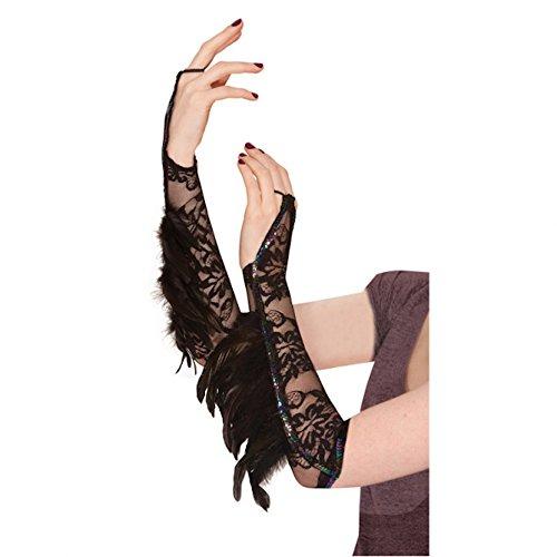 Schwarze Armstulpen mit Spitze und Federn Damen Kostümzubehör Halloween Stulpen Rabe Vogel Black Swan (Black Wie Swan Kostüme)