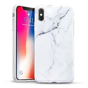 ESR Coque pour iPhone XS Marbre, iPhone 10 Coque Silicone Motif Marbre, Housse Etui de