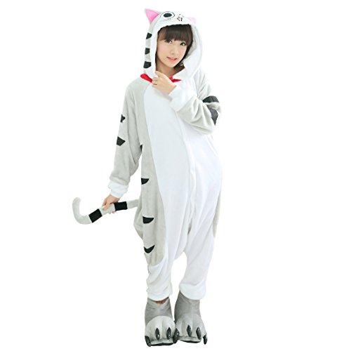 Männer Fett Kostüm - Cool&D Pyjama Schlafanzug Onesie Jumpsuits Hausanzug Flanell Kostüme mit Schuhe für Herren Damen Kinder