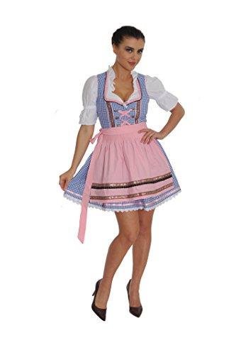 Dirndl Set 3tlg.-Trachtenkleid, Bluse und Schurze - Trachtenmode Dirndl mini Hellblau kariert und Rosa - Grosse: 36