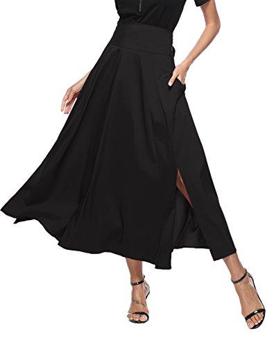 Aibrou donna gonna lunga casual abito plissettato gonna in vita alta con tasche pieghevole split in fondo gonna elegante