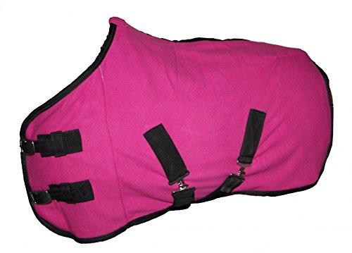 Coperta per cavallo in pile traspirante con cinghie incrociate, rosa fucsia, 145cm