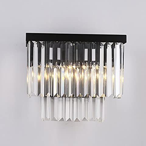 Kristall prisma Wandleuchte leuchtet E12 / E14 * L2 Deckenleuchte kreativer moderne minimalistische Wandlampe Hotel Nacht Lautsprecher retro Wohnzimmer Schlafzimmer Wandleuchte schwarz Metall + transparenten Kristall CZ098B