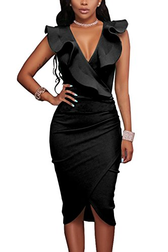 WIWIQS Womens V-Ausschnitt Sexy Rüsche Bodycon Party Cocktail Club Midi Kleid, Schwarz, (Kostüm Quiz Master)