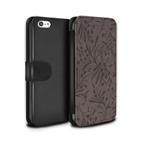 Stuff4 Coque/Etui/Housse Cuir PU Case/Cover pour Apple iPhone 5C / Pack (8 pcs) Design / Motif floral blé Collection Gris