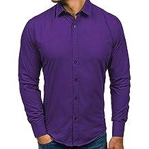 Yvelands Liquidación Camisa Formal Casual para Hombres, Solapa para Hombres Camisa Slim fit Casual para