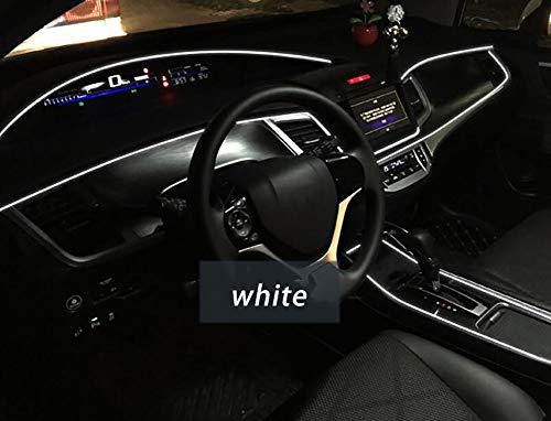 FENG Innenraumbeleuchtung Auto LED,12V (5M) Neon-Atmosphäre Glowing Strobing Electroluminescent Light Glowing EL Drahtseil für Autotür/Konsole/Sitz/Armaturenbrett Dekoration,White -
