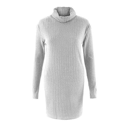 LUVERSCO Damen Beiläufig Lange Ärmel Jumper Rollkragen Pullover Mantel Bluse (Grau, S) (Schal Stricken Lange Logo)