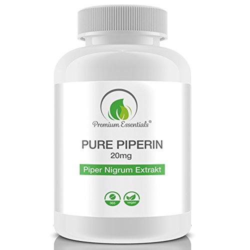 Pure Piperine 20mg, 365 Tabletten (vegan), reines hochdosiertes Piperin, Piper Nigrum, Premium Qualität (GMP)