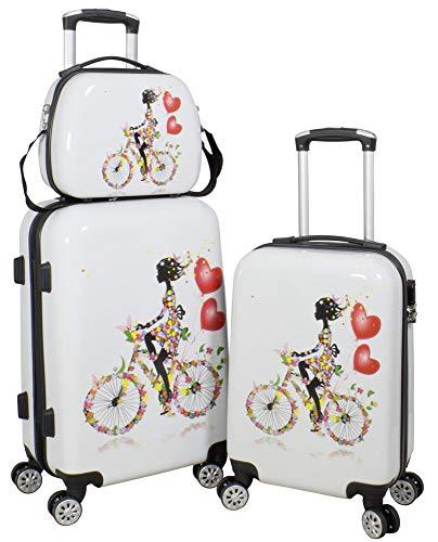 Trendyshop365 Hartschalen Reise-Set für Damen 3-teilig Bunt