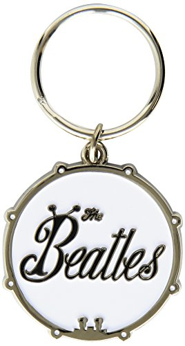The Beatles Bug Logo On White Silver Drum Keychain