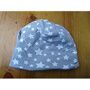 Mütze Babymütze Baby Junge grau Sterne warm Meer Geschenk Geburt Mütze Fleece Winter Neugeborene