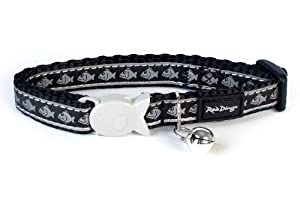 Red Dingo Reflective Cat Collar, 12 mm, Neck Size 20 - 32 cm, Black by Red Dingo