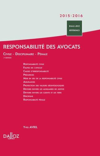 Responsabilité des avocats - 3e éd. par Yves Avril