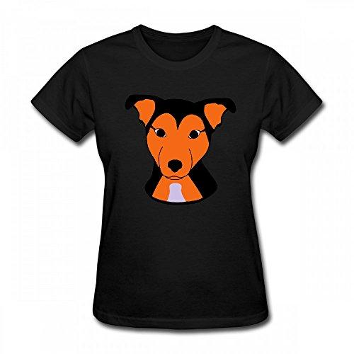 qingdaodeyangguo T Shirt For Women - Design Cute Dog Shirt Black