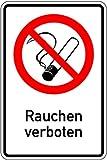Schild Alu Rauchen verboten 300 x 200 mm (Rauchverbot, Nichtraucher, Verbotsschild) praxisbewährt, wetterfest
