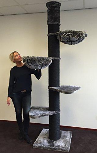 RHRQuality Kratzbaum große katze XXL Maine Coon Tower Blackline Anthrazit. Stämme 20cm Ø. Speziell für große und schwere Katzen. Deckenhoch